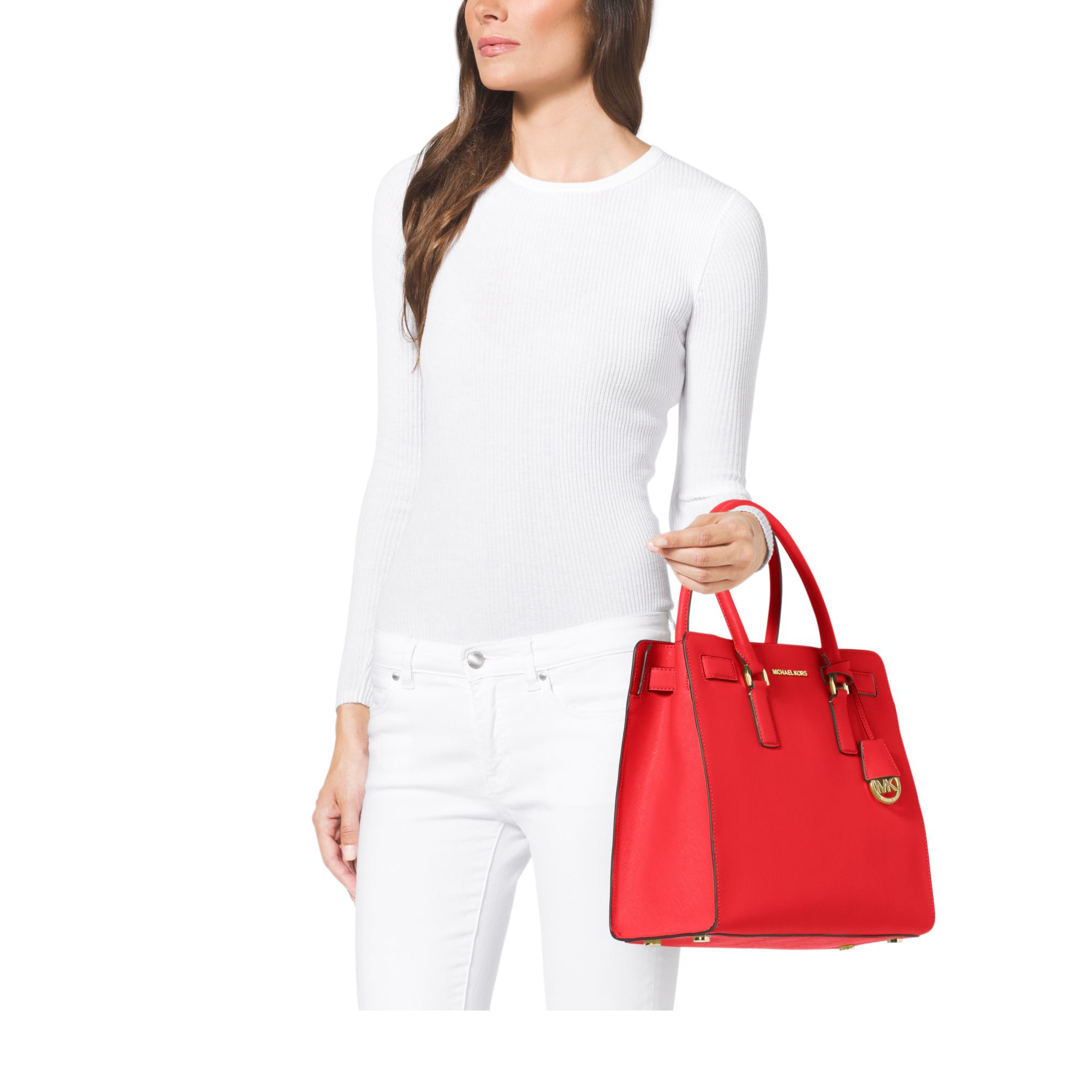Michael kors Dillon Large Saffiano Leather Tote in Red | Lyst