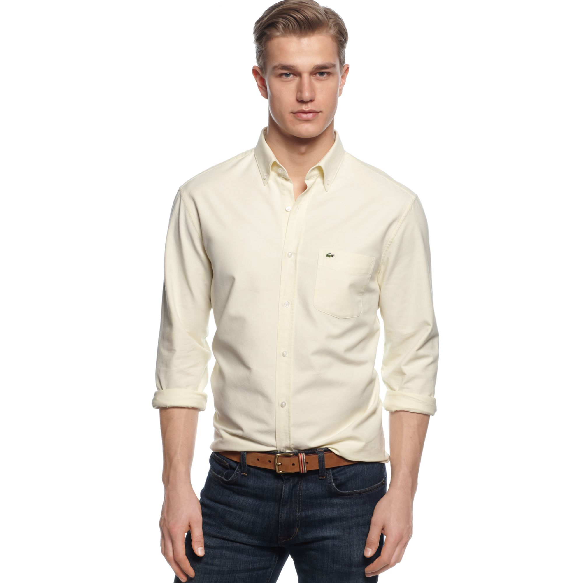 6db71688b Lyst - Lacoste Long Sleeve Button Down Oxford Shirt in White for Men