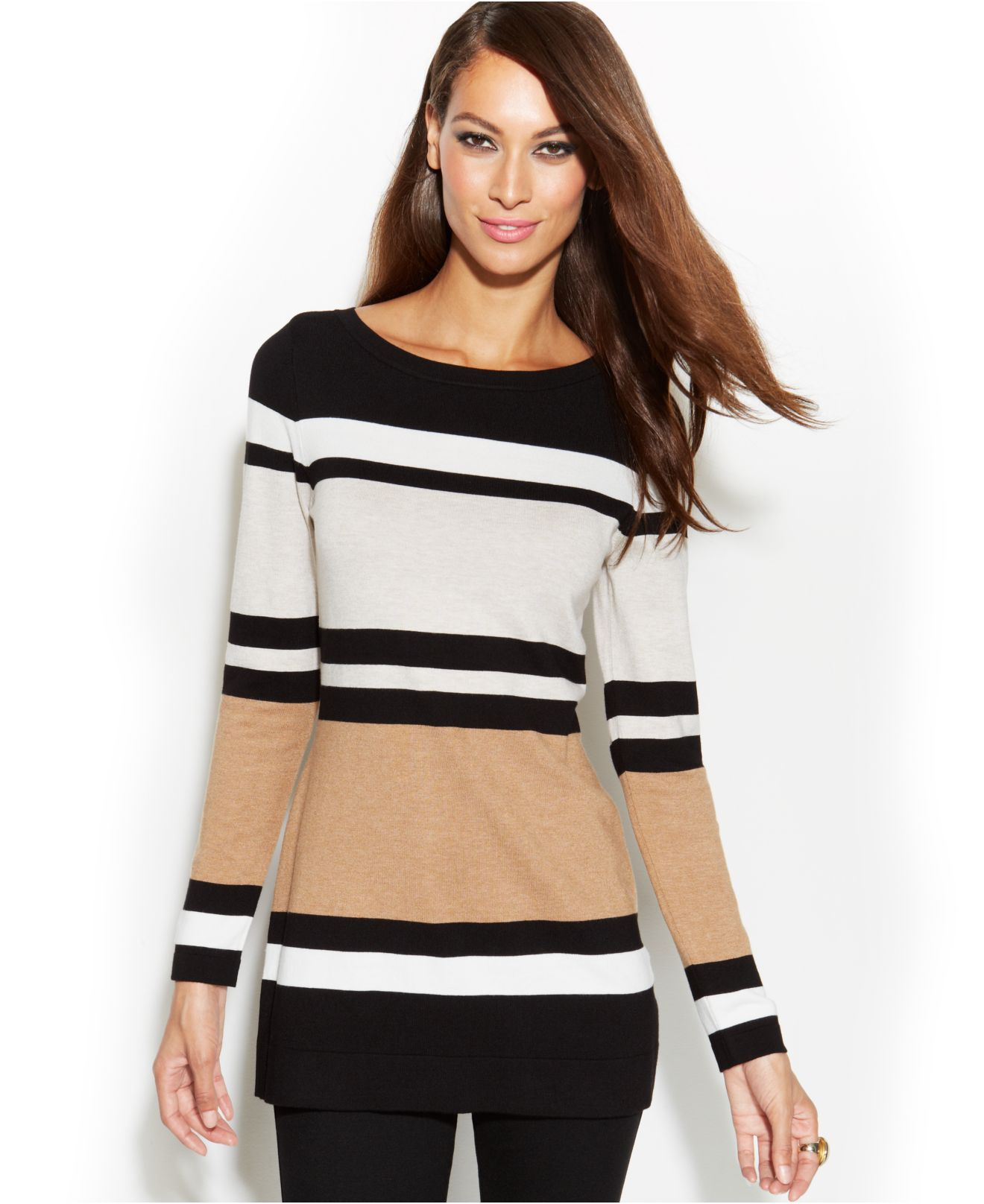 Inc international concepts Plus Size Stripe Colorblock Tunic ...