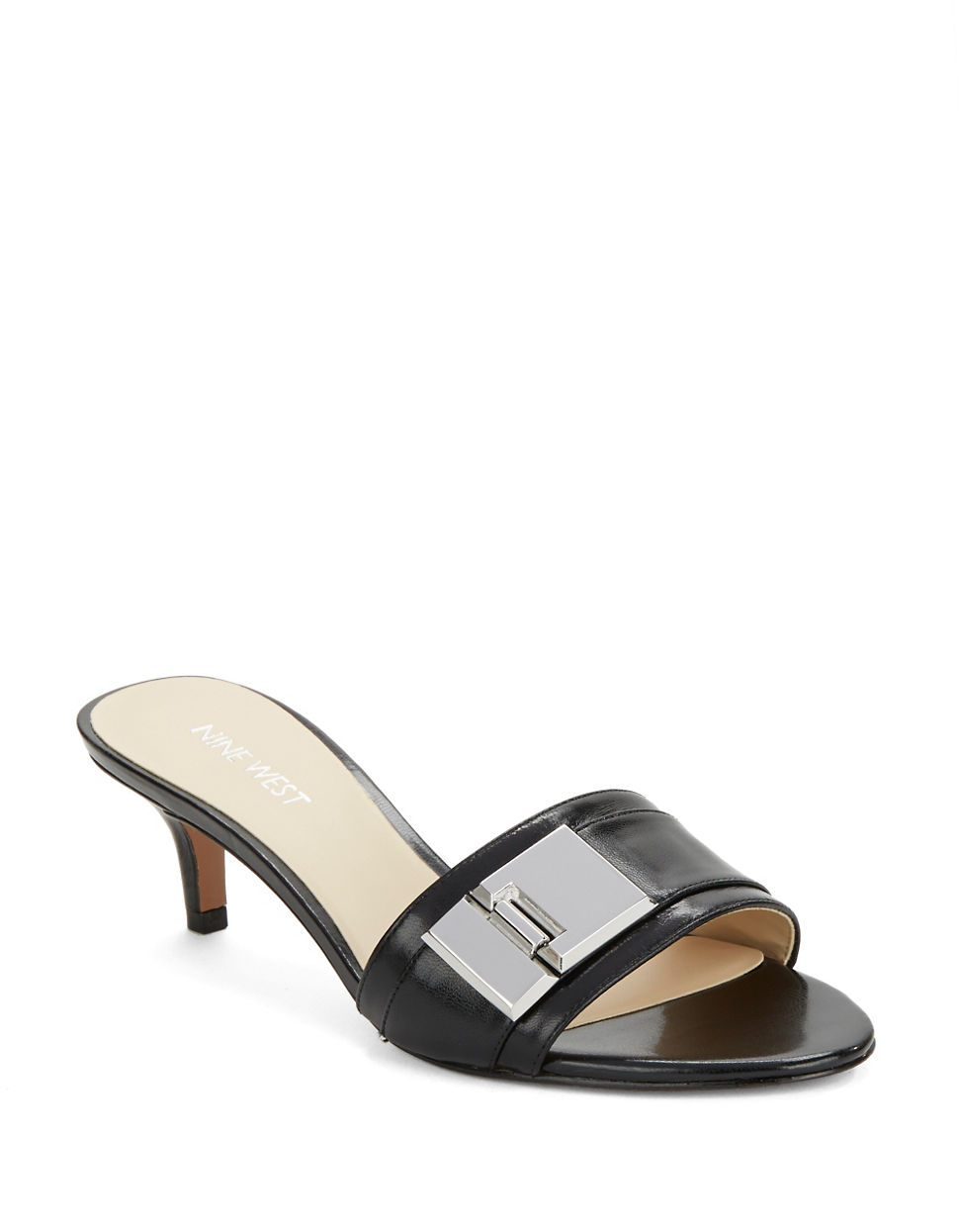 Nine west Yulenia Leather Kitten Heel Sandals in Black | Lyst