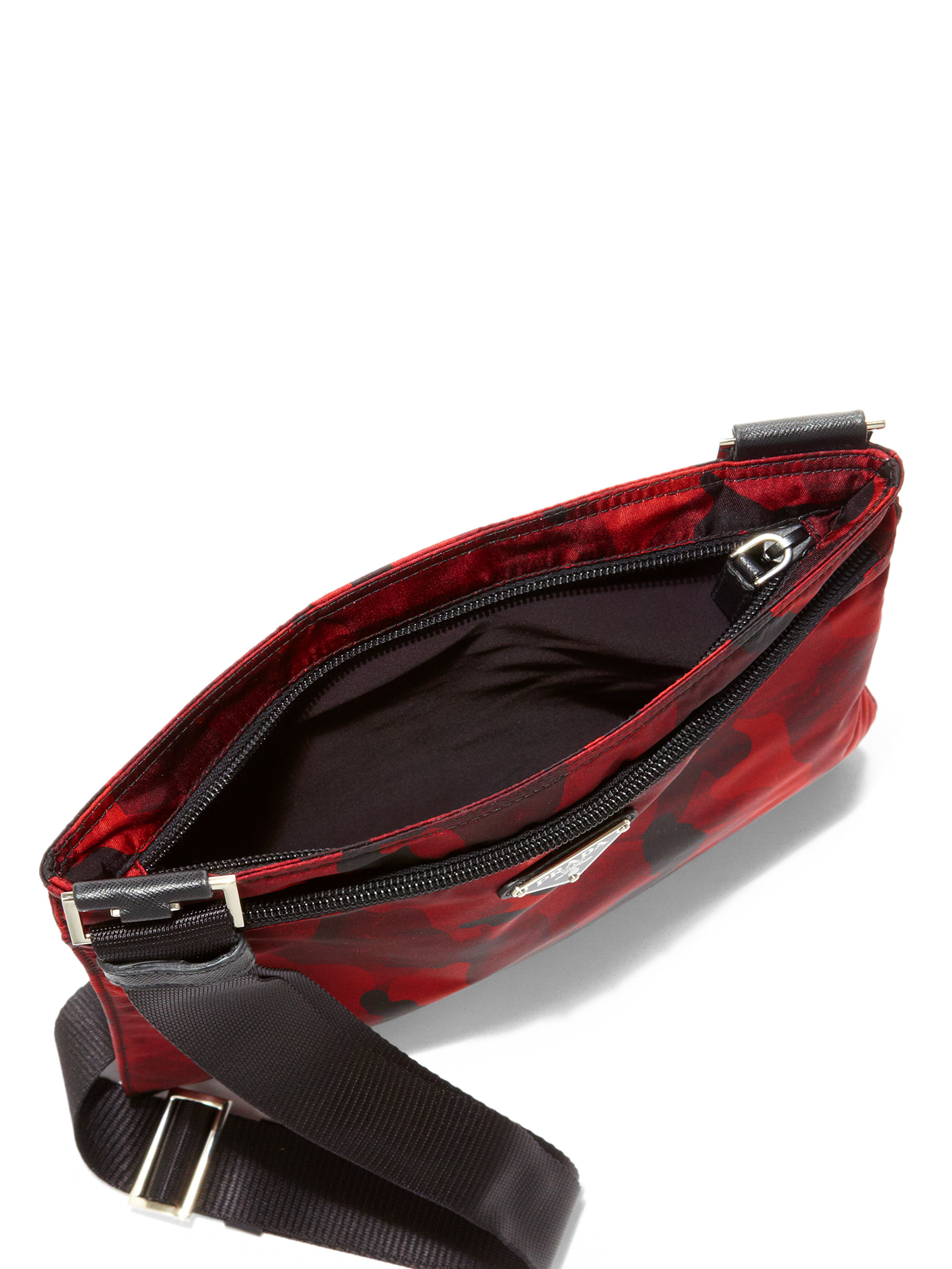 4e40ee4aaffc ... cheap lyst prada tessuto camouflage small crossbody bag in red 538e2  b7967