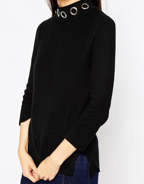 Asos tunic with eyelet collar detail in black lyst for Mens eyelet collar dress shirts