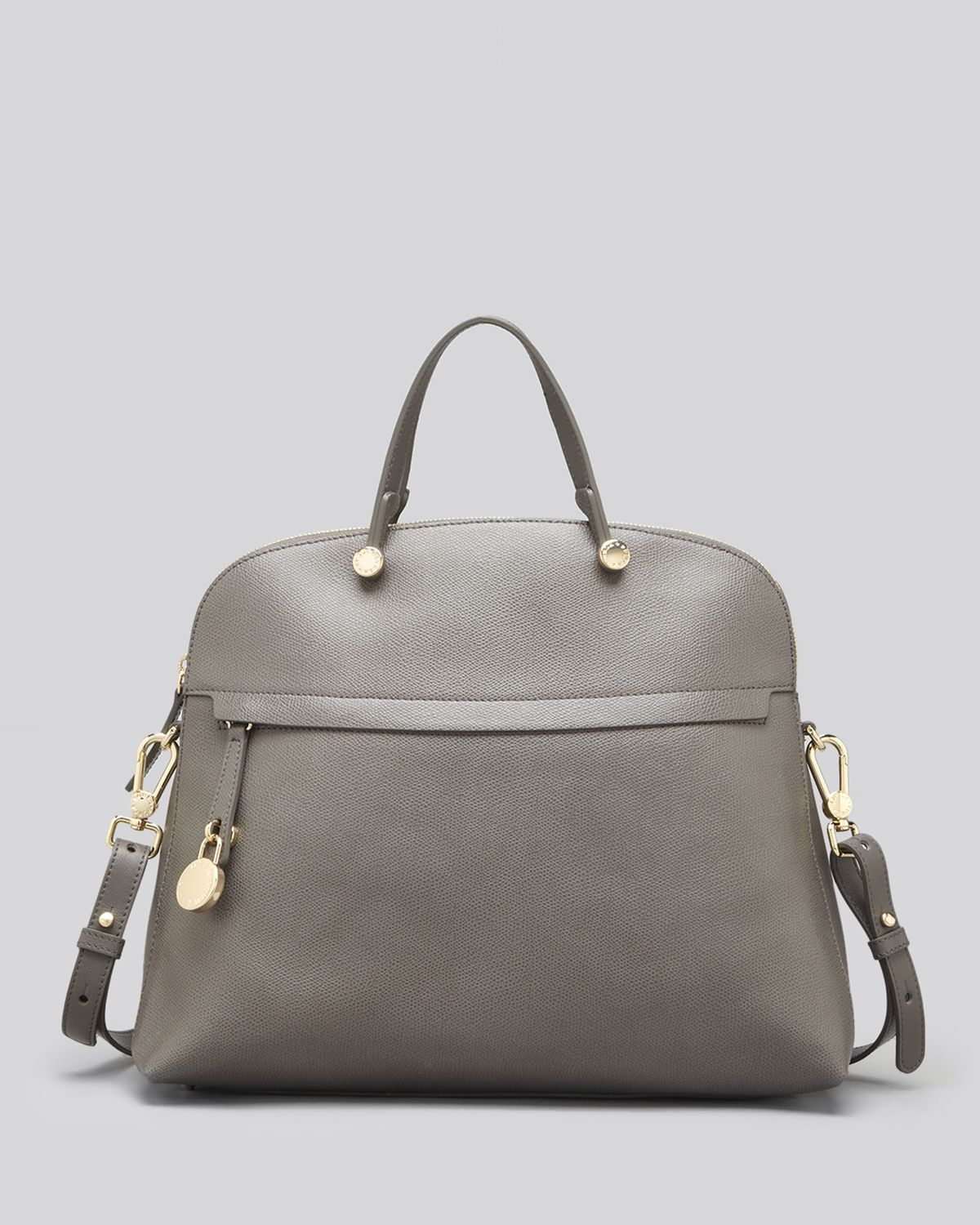 Furla Satchel - Piper Ares Leather Large Dome in Gray | Lyst