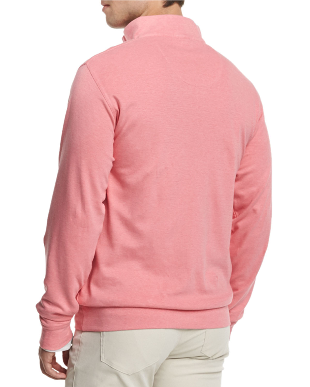 Peter millar Interlock Quarter-zip Pullover Sweater in Pink for ...