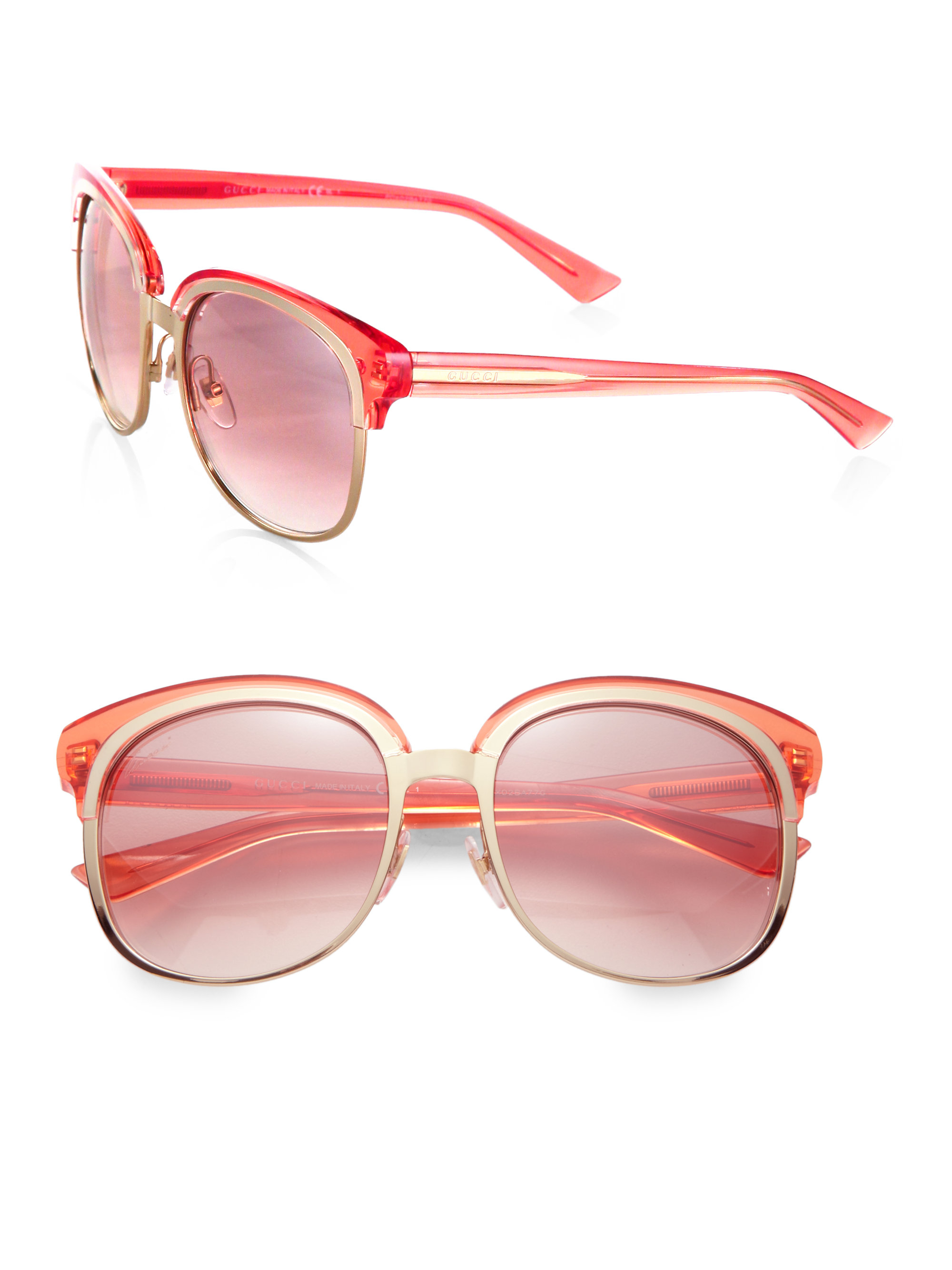 7e30ed0226baa Gucci Oversized Plastic Metal Round Sunglasses in Metallic