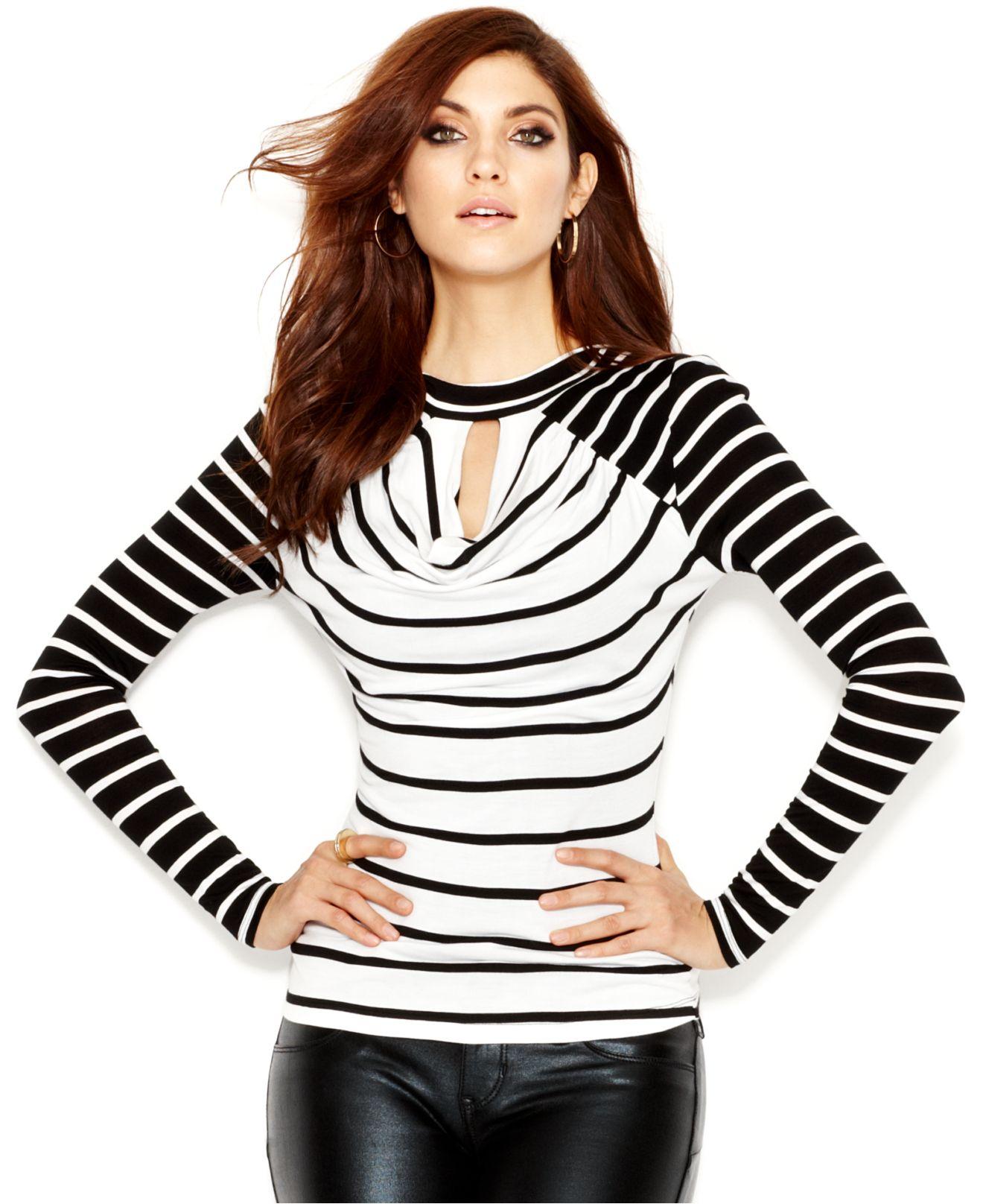 5feb5877173 Lyst - Guess Long-sleeve Mock-turtleneck Striped Top in Black