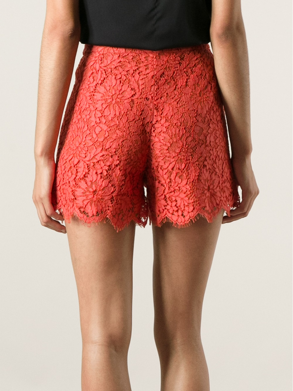 Dolce & gabbana Lace Shorts in Red | Lyst
