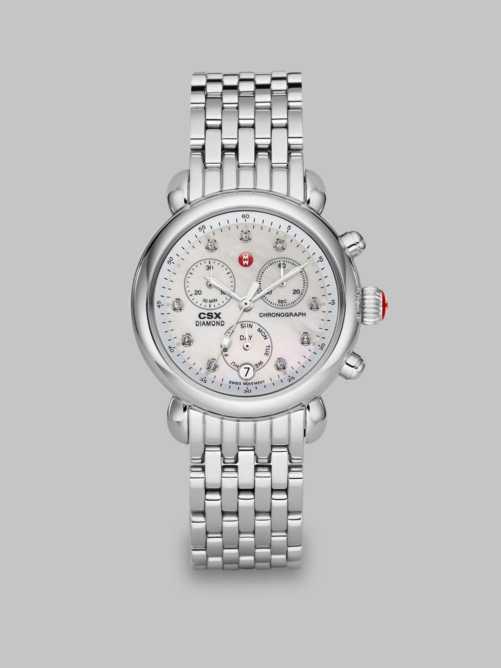Michele diamond stainless steel chronograph watch in silver lyst for Watches diamond