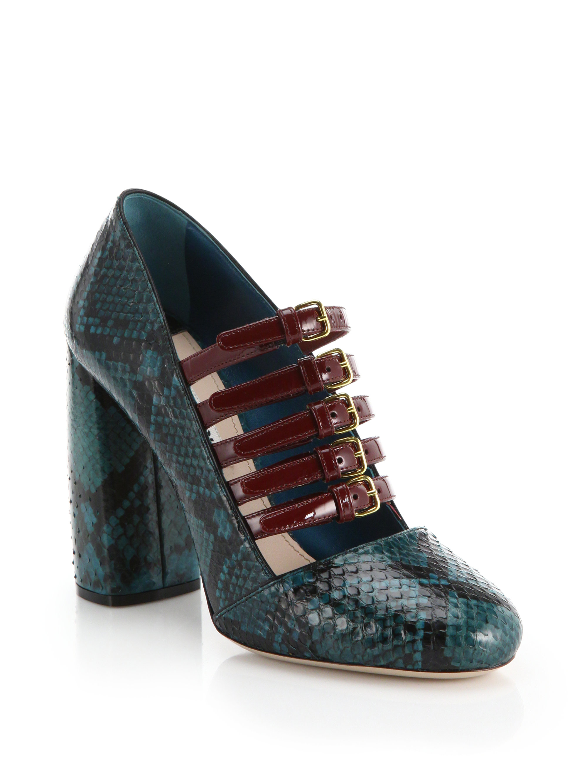 Miu miu Ayers Snakeskin & Patent Leather Mary Jane Pumps in Teal (teal-multi)   Lyst