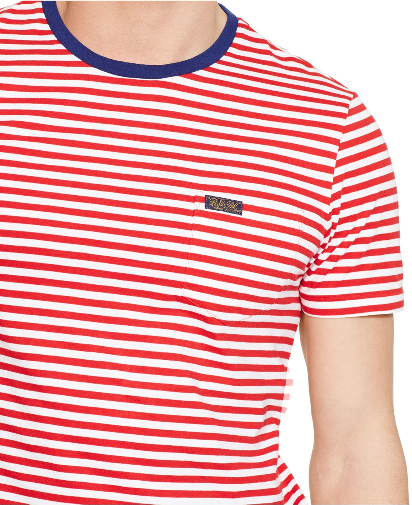 7c341b452f ... sweden lyst polo ralph lauren striped pocket t shirt in red for men  de5dd 47f9b