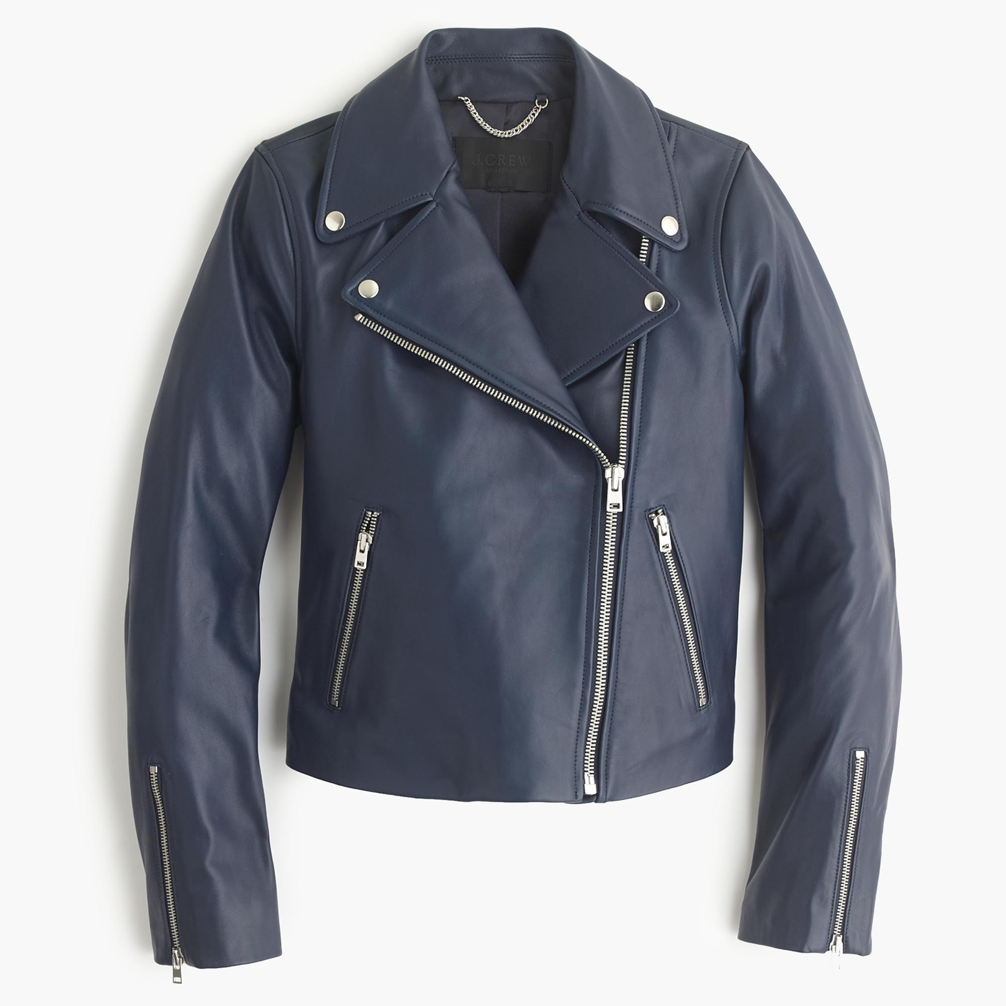 Coloured leather biker jackets