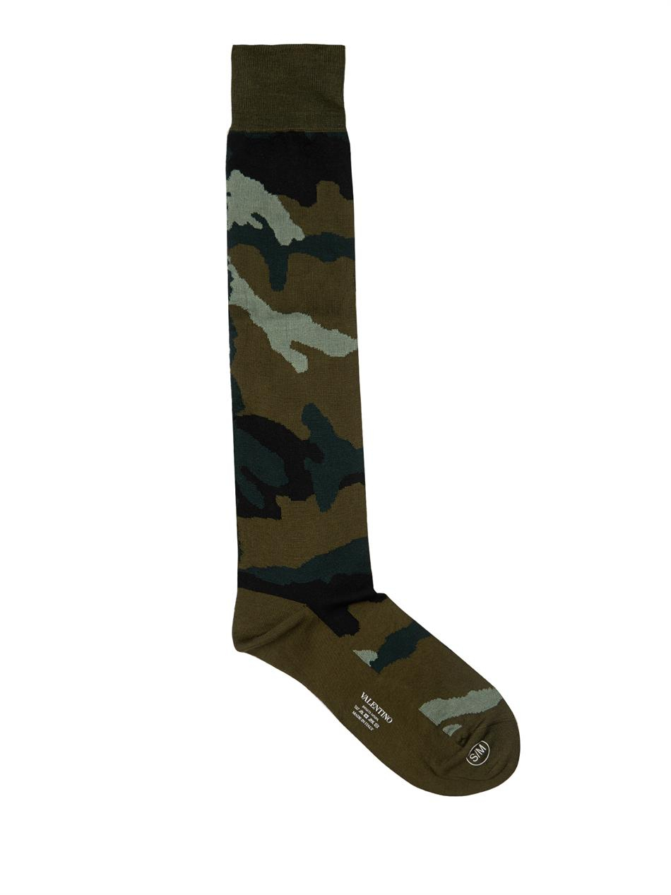 8544a0b25 Valentino Camouflage Cotton-Blend Socks in Green for Men - Lyst
