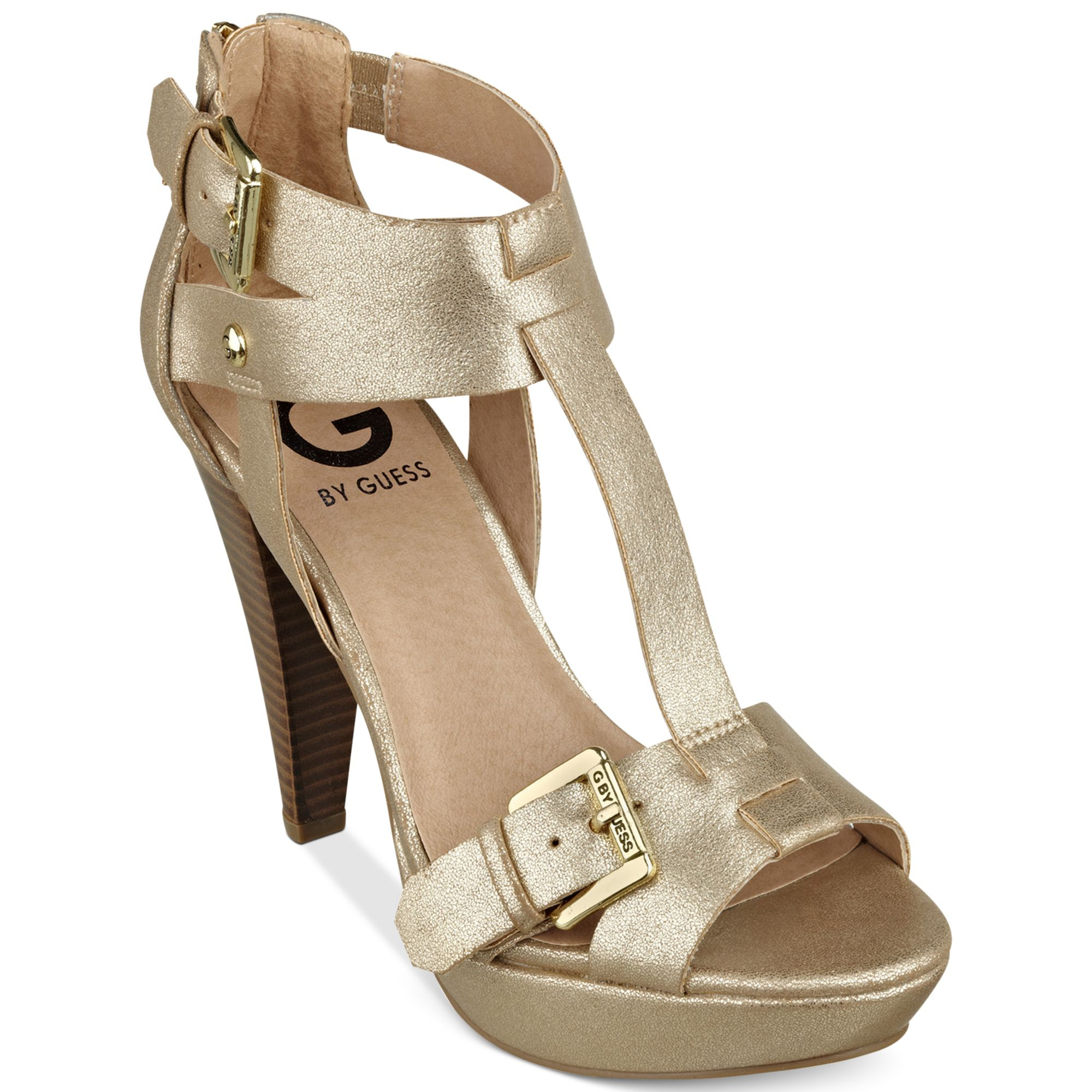 e19c55878c27 Lyst - G by Guess Womens Lychee Platform Sandals in Metallic
