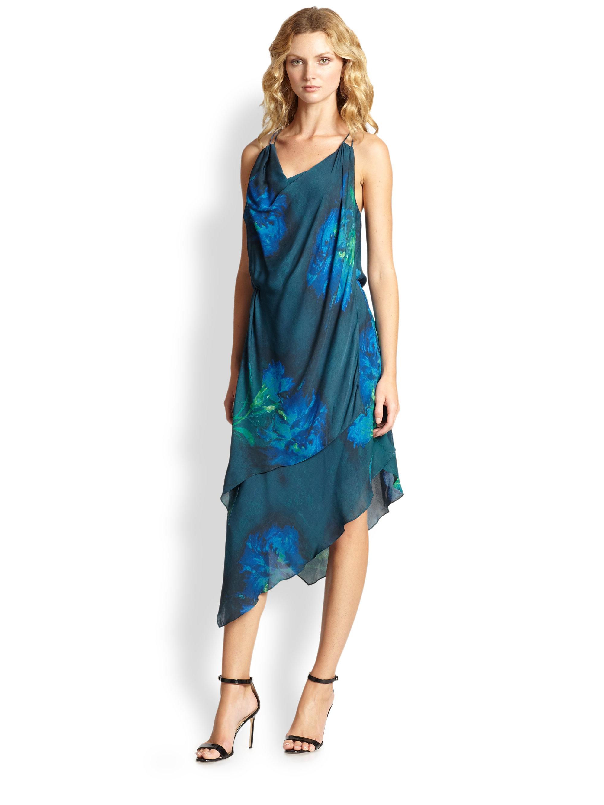 Lyst Haute Hippie Silk Watercolor Floral Dress In Blue