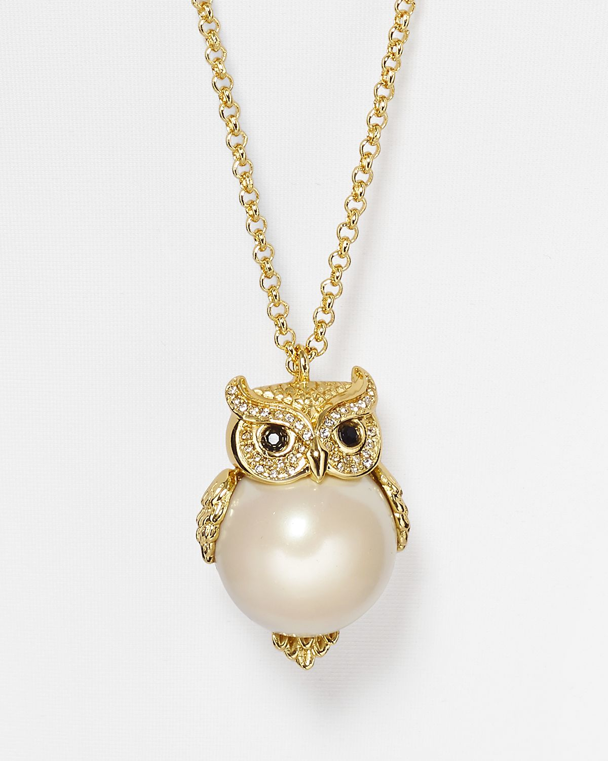 Lyst kate spade new york faux pearl owl pendant necklace 32 in gallery aloadofball Image collections