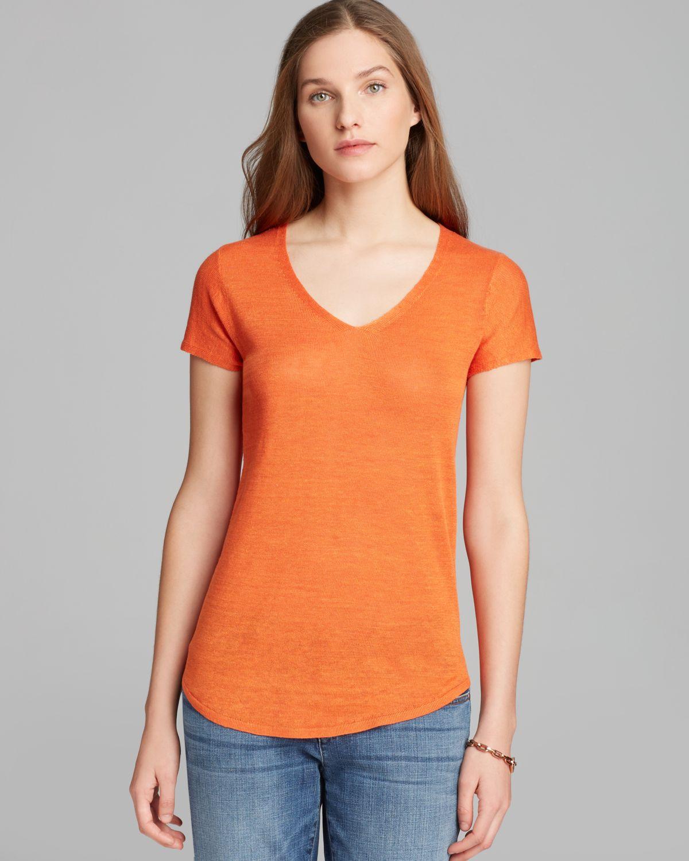 Eileen fisher V Neck Short Sleeve Sweater in Orange | Lyst