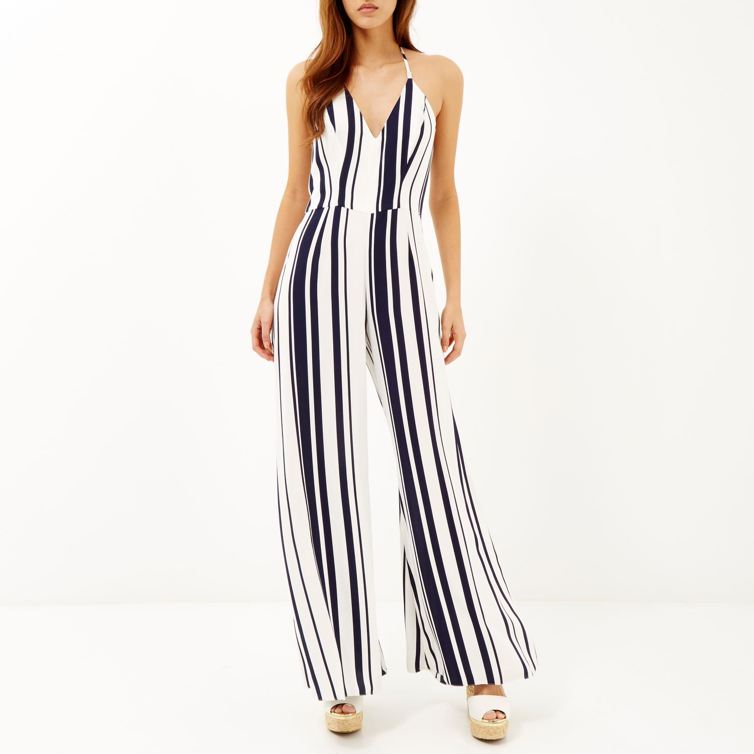 eb35b0e4e7e1 River Island Navy Stripe Wide Leg Jumpsuit in Blue - Lyst