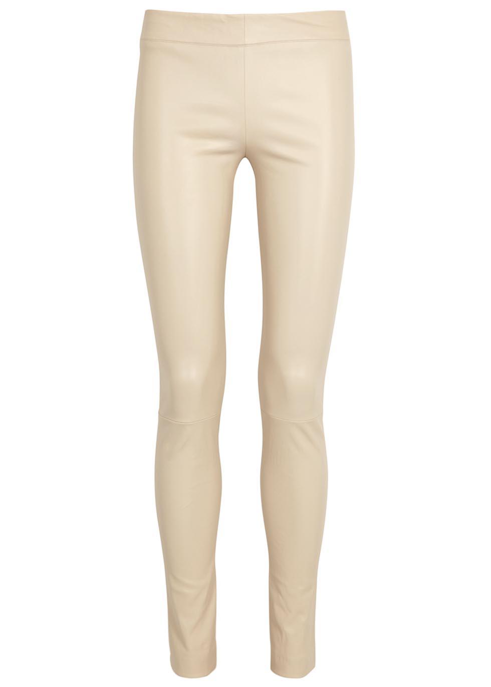 62c0bfbaf317c The Row Moto Cream Leather Leggings in Natural - Lyst