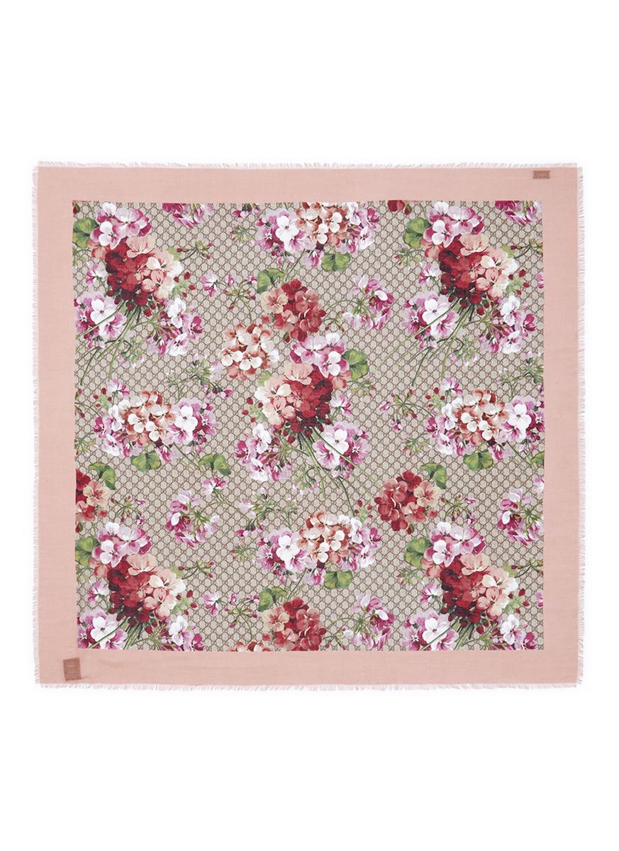 Lyst gucci blooms monogram floral print modal silk scarf in pink gallery mightylinksfo