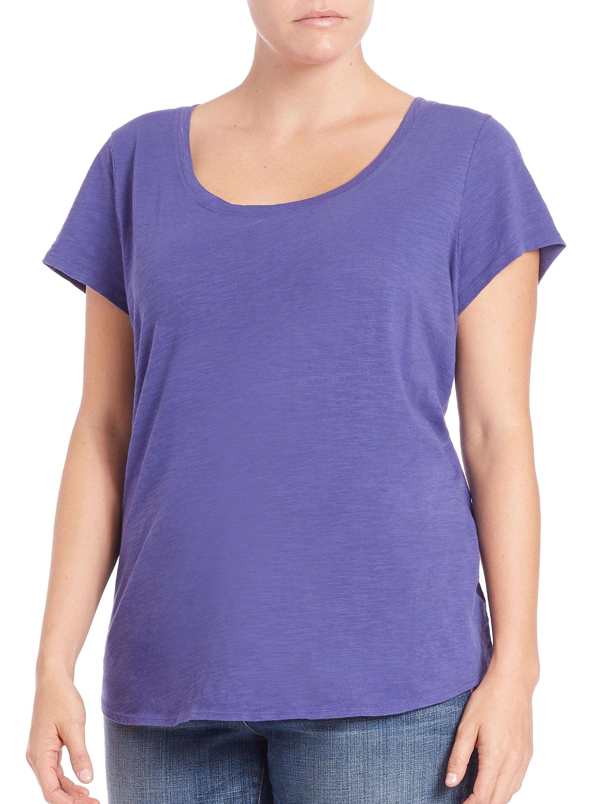 Eileen fisher cotton jersey scoopneck tee in blue iris for Eileen fisher organic cotton t shirt