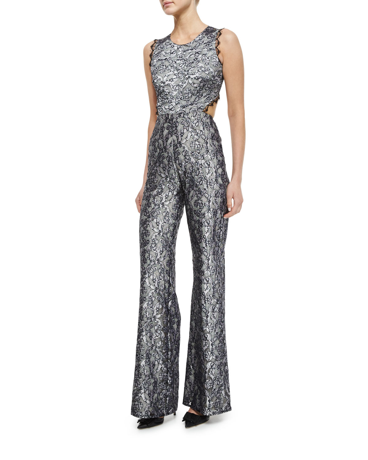 e4a9fcb6952 Alexis Sleeveless Floral Lace Jumpsuit in Metallic