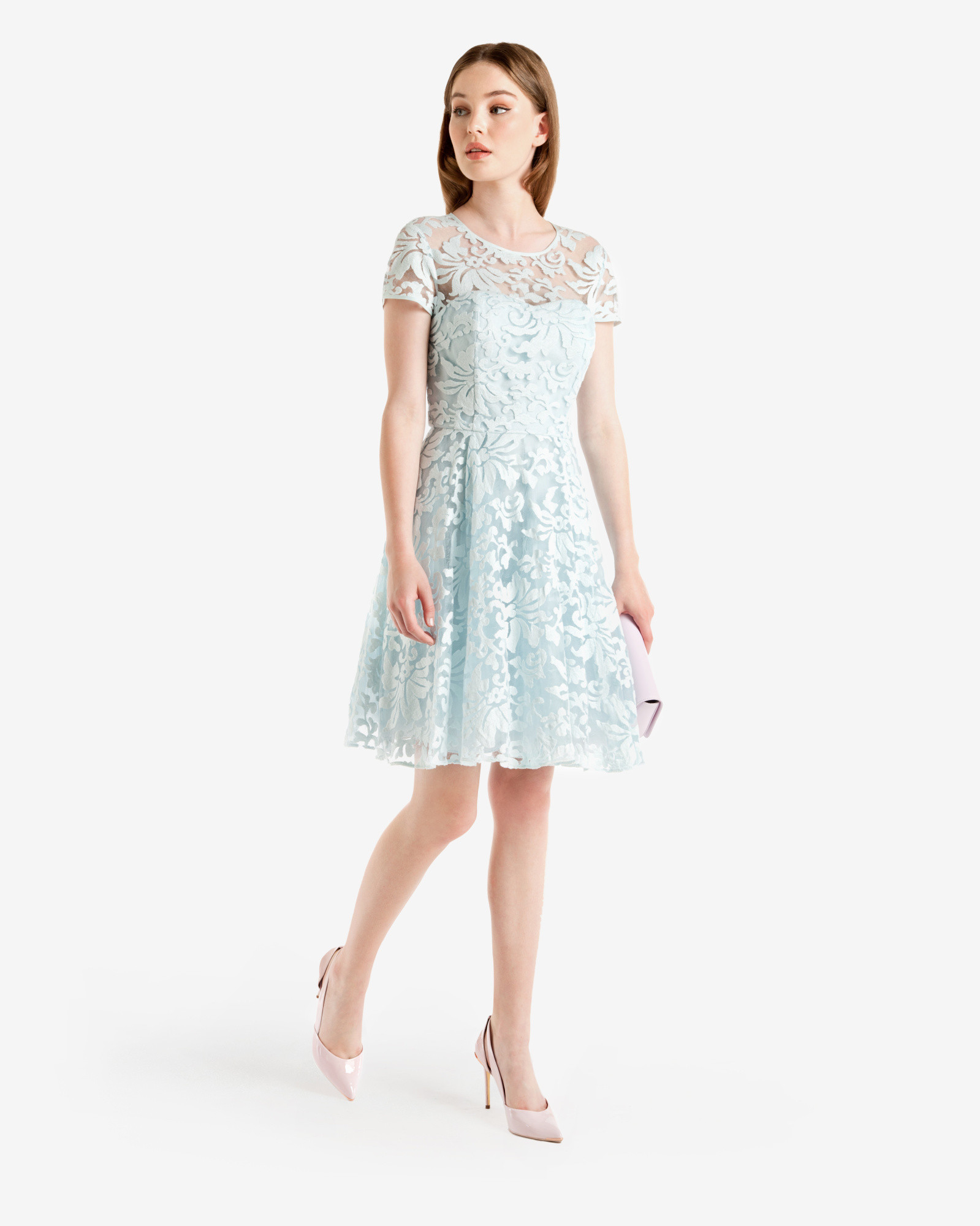 Lyst Ted Baker Floral Lace Dress In Blue