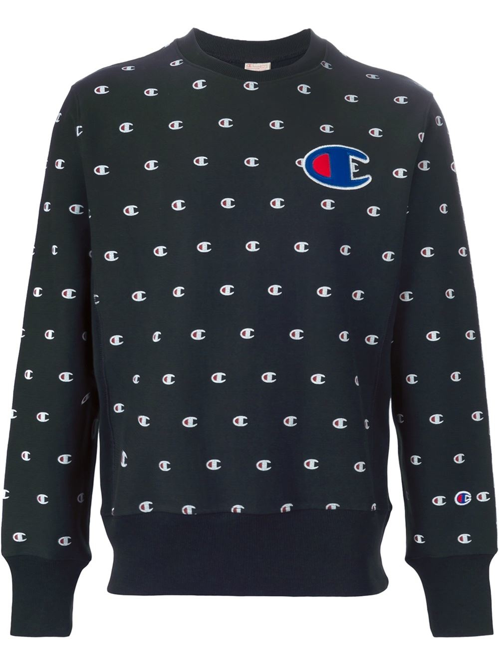 Champion All Over Logo Sweatshirt in Black for Men | Lyst
