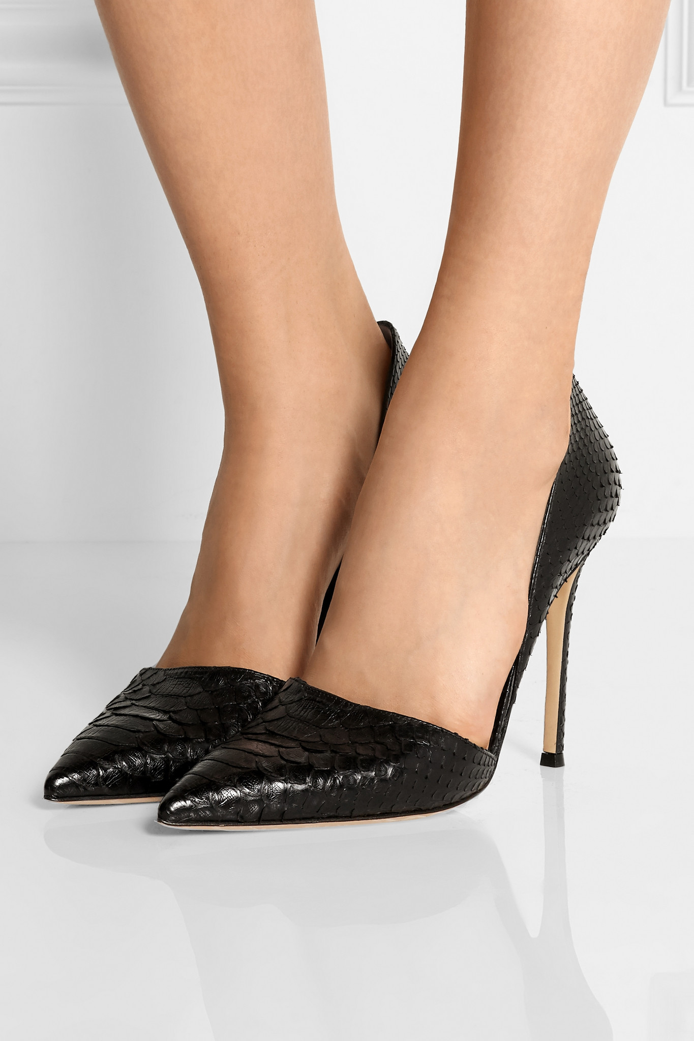 Lyst Gianvito Rossi Python Pumps In Black