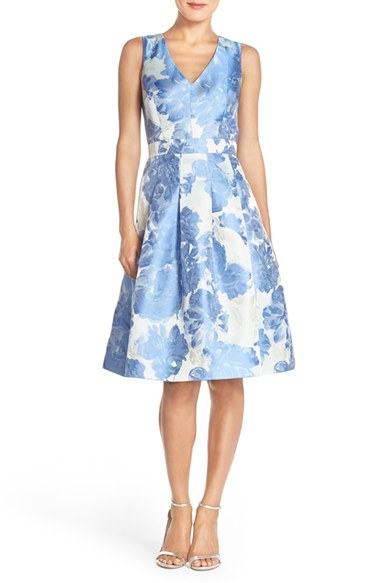 Lyst Eliza J Floral Jacquard Fit Amp Flare Dress In Blue