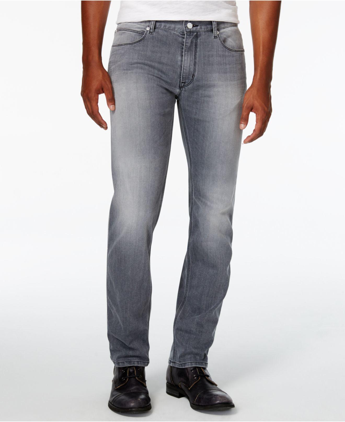 lyst boss men 39 s 708 slim fit gray wash jeans in gray for men. Black Bedroom Furniture Sets. Home Design Ideas