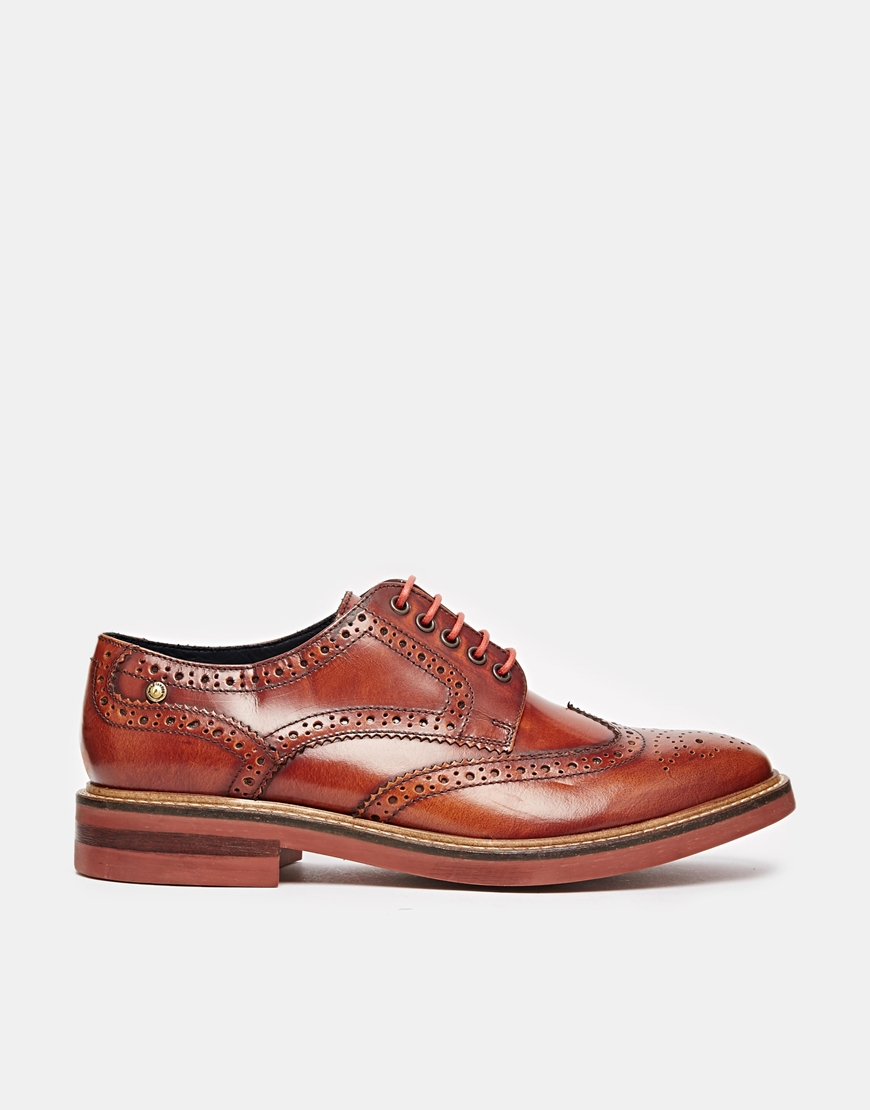 6106157e16023 Base London Woburn Hi-shine Leather Brogues in Brown for Men - Lyst