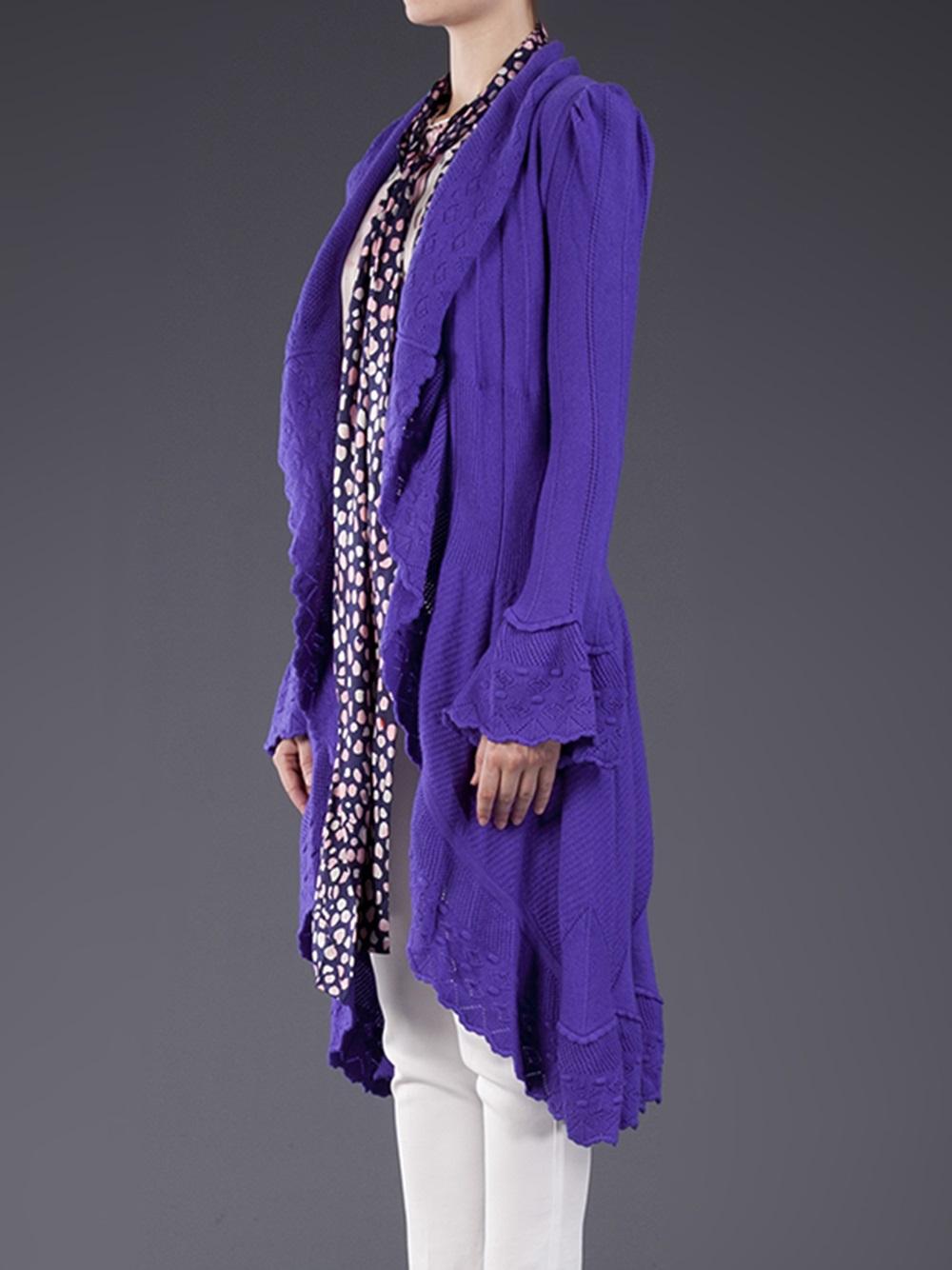 Oscar de la renta Knit Duster Cardigan in Purple | Lyst