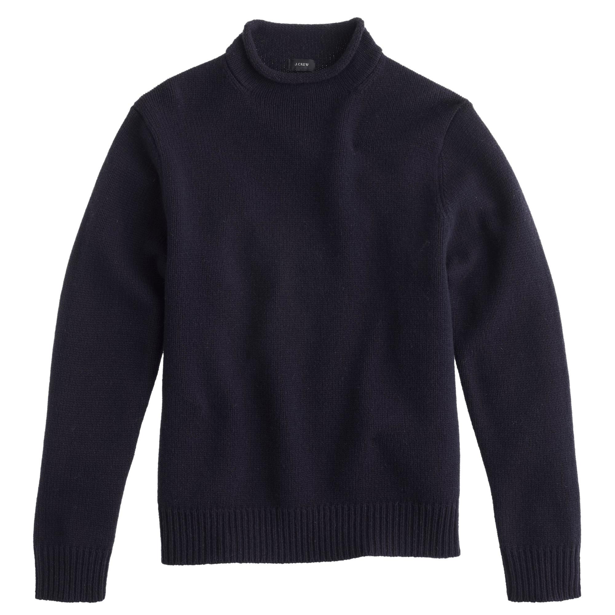 Lyst Jcrew Lambswool Rollneck Sweater In Blue For Men