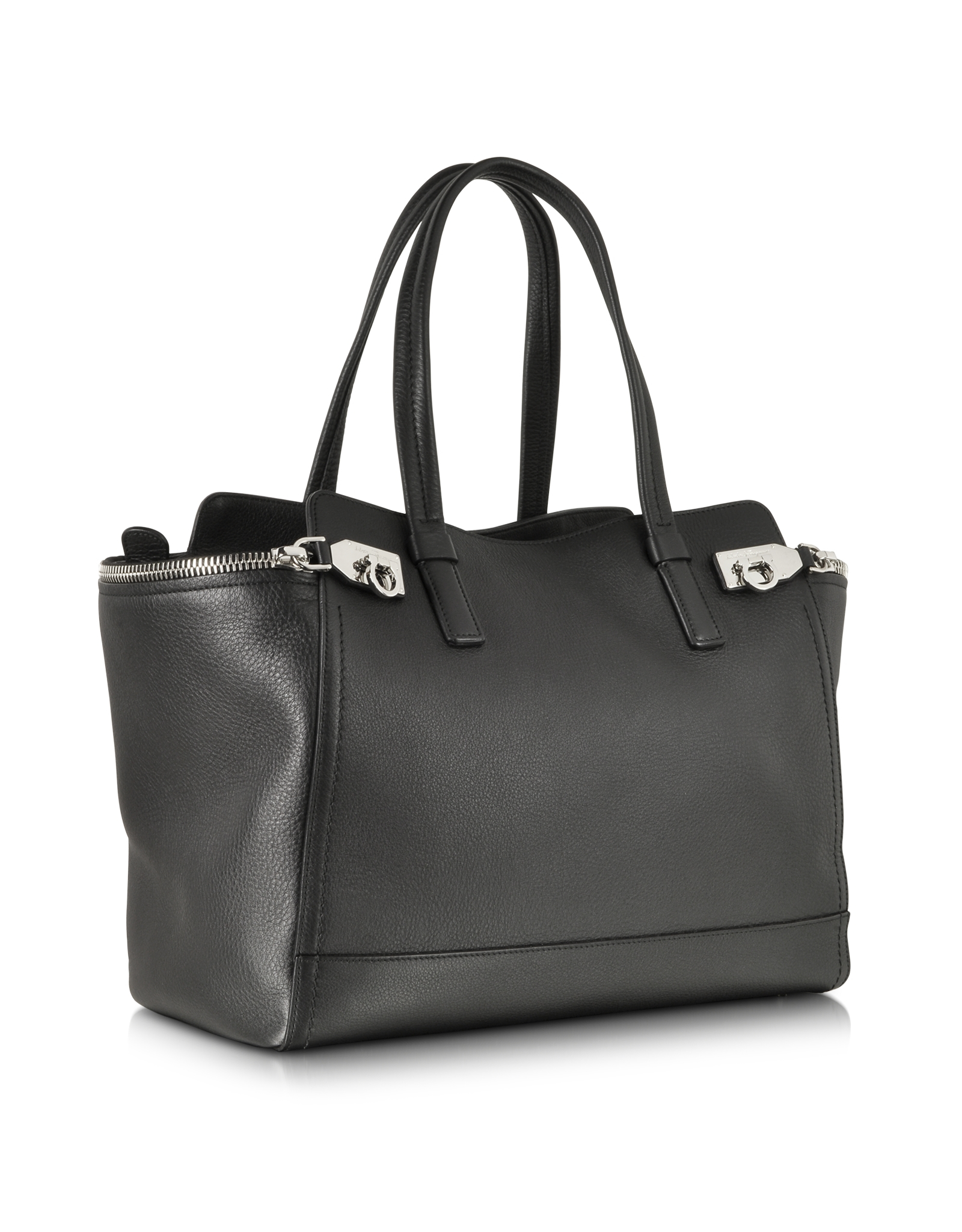 6561b3e649a0 Lyst - Ferragamo Verve Medium Leather Tote in Black
