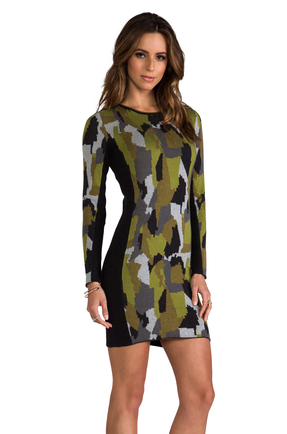 Lyst torn by ronny kobo taylor camouflage dress in army for Green camo shirt outfit