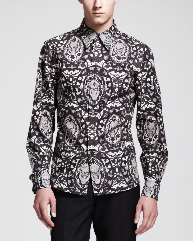 Lyst Alexander Mcqueen Laceskullprint Dress Shirt