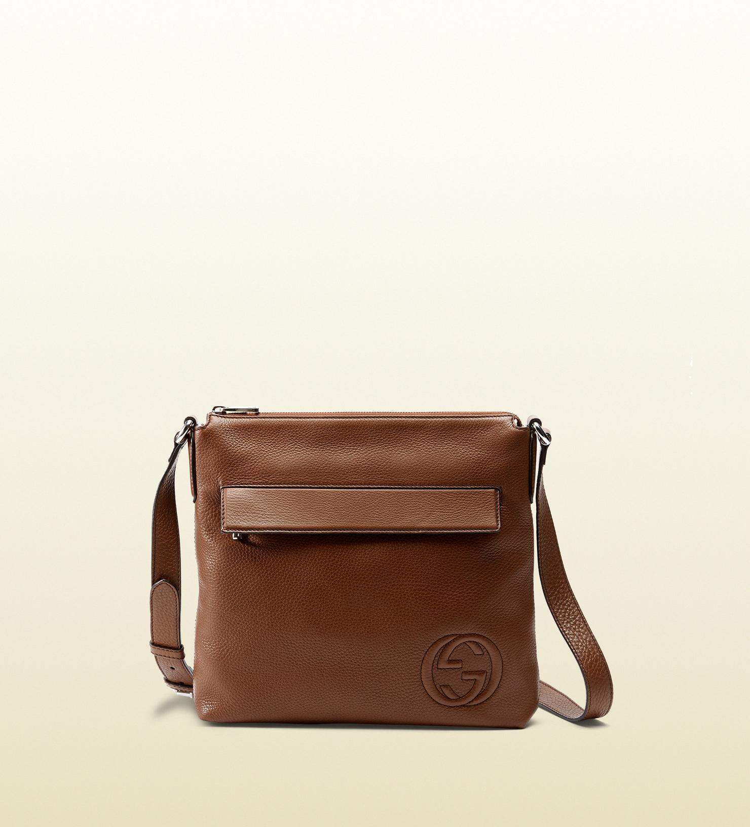 555d74e6c81 Gucci Leather Messenger Bag