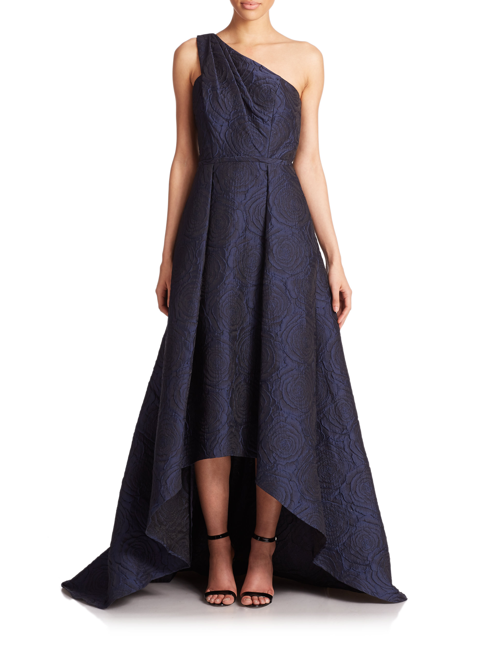 Lyst Pamella Roland One Shoulder Jacquard Gown In Blue