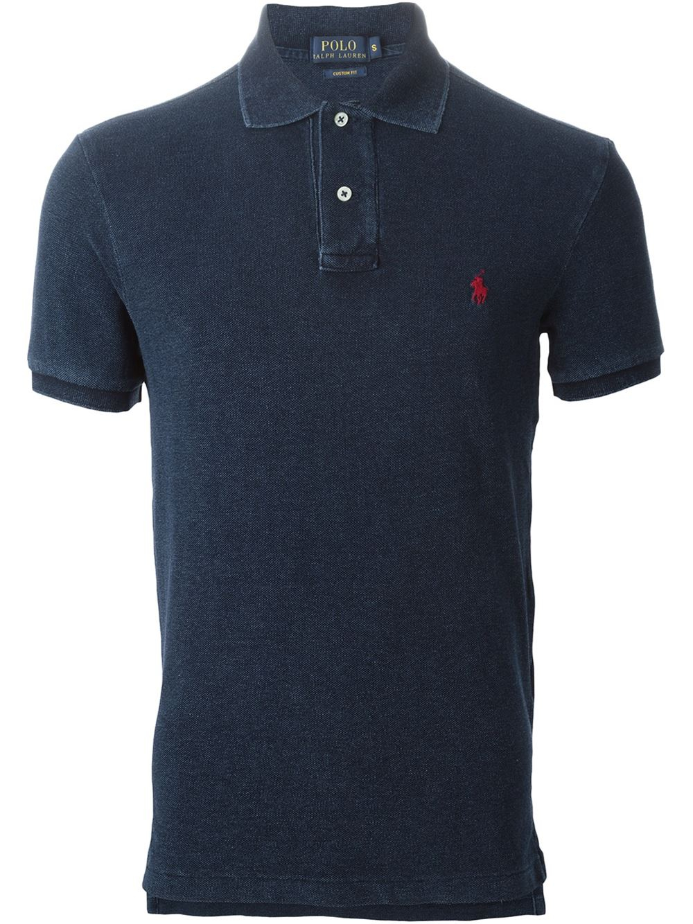 Polo ralph lauren embroidered logo polo shirt in black for for Polo shirts with logos