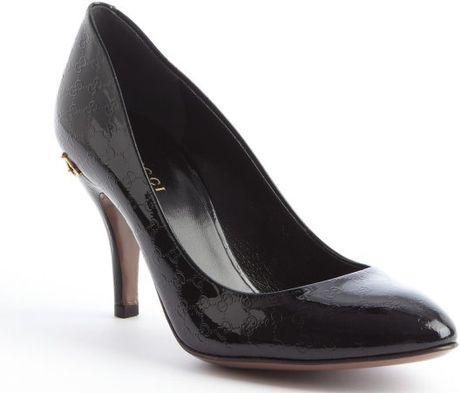 Gucci Black Ssima Patent Leather Horsebit Heel Pumps in Black - Lyst