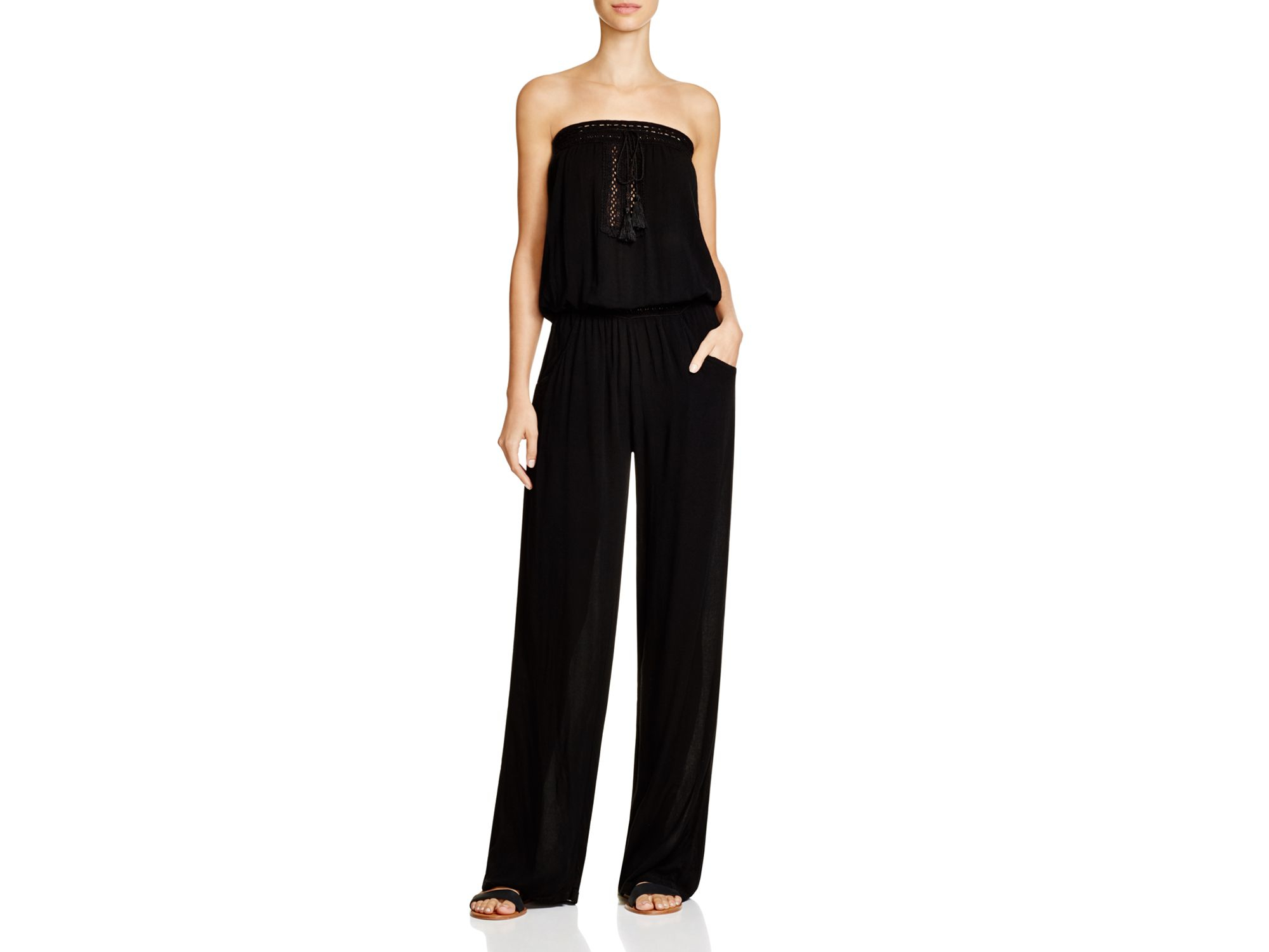 f72e7ebb9d79 Lyst - Surf Gypsy Crocheted Trim Jumpsuit Swim Cover Up in Black