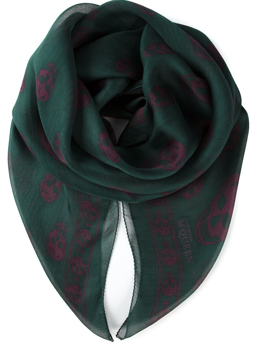 mcqueen skull print scarf in green lyst
