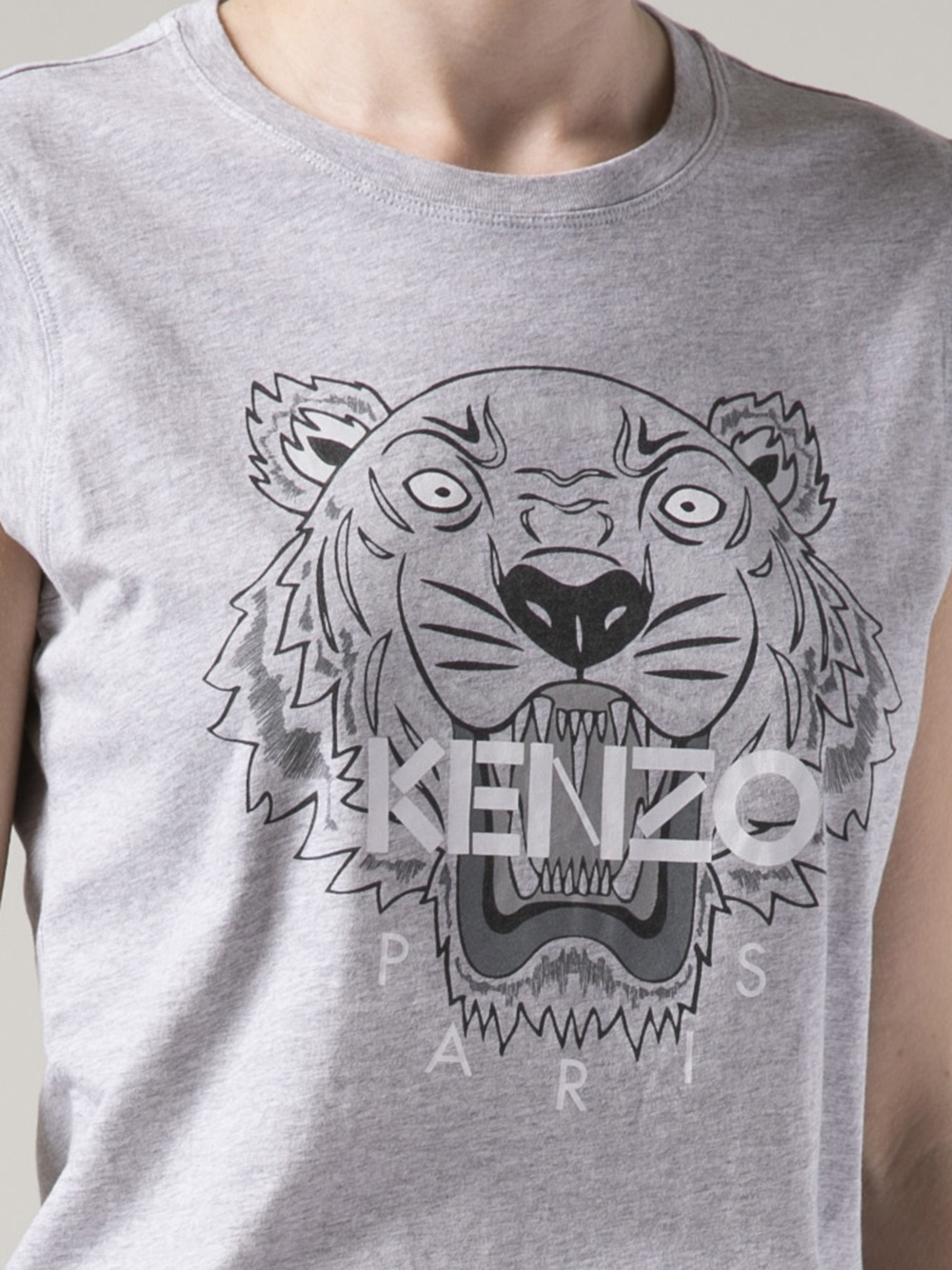 32a23da551f75 KENZO Graphic Tiger T-shirt in Gray - Lyst