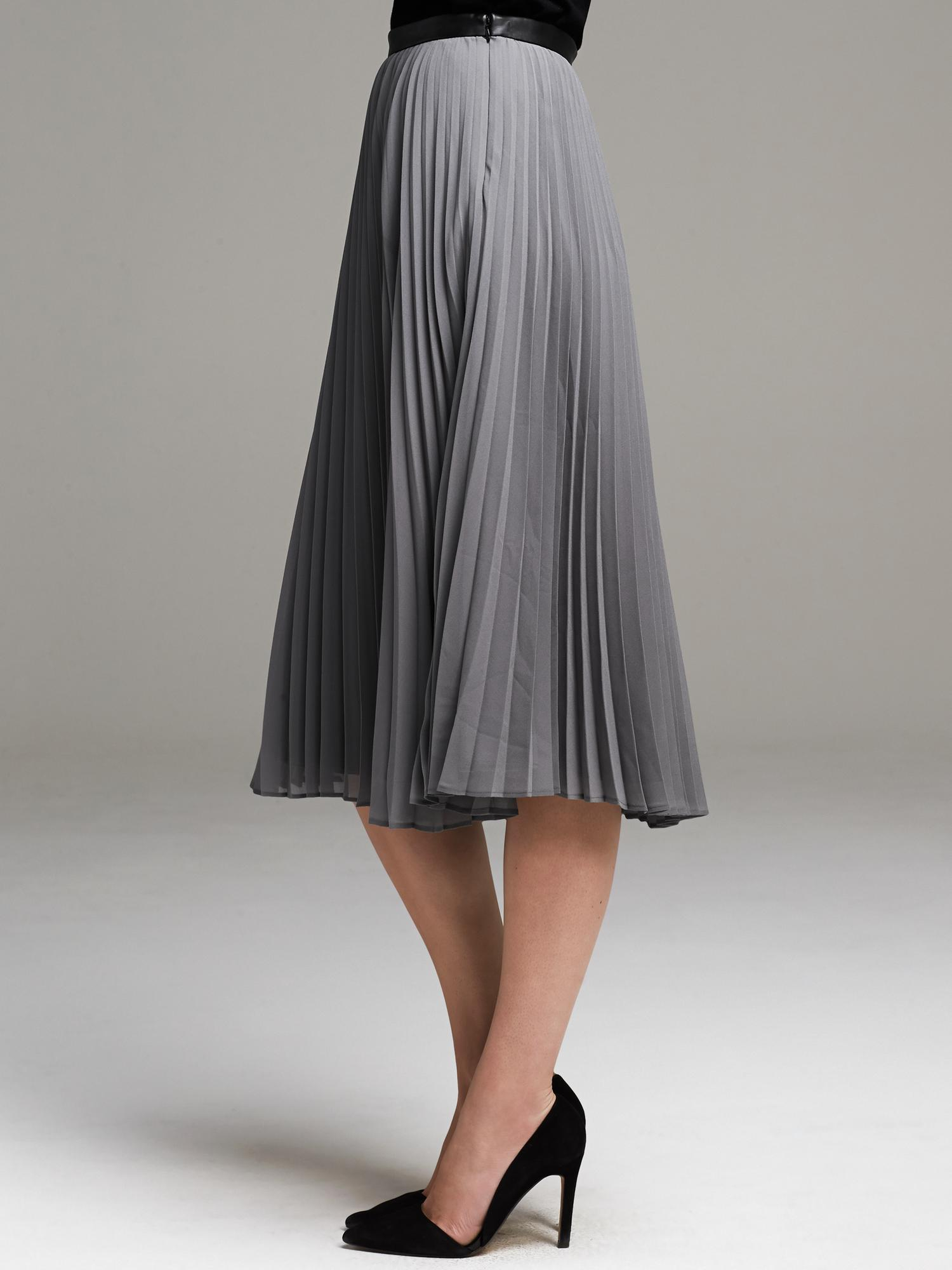 banana republic pleated chiffon midi skirt in gray