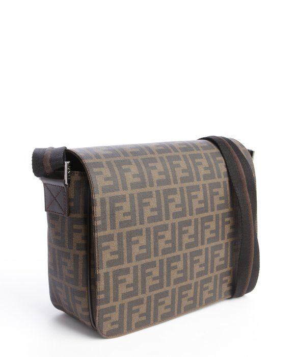 e51b78c52a ... where to buy lyst fendi tobacco and brown zucca spalmati small messenger  bag in 59a0a b8865