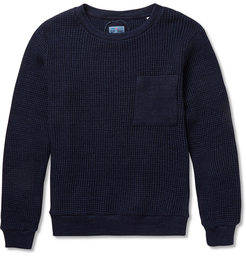 Blue blue japan Indigo-Dyed Waffle-Knit Cotton Sweater in Blue for ...