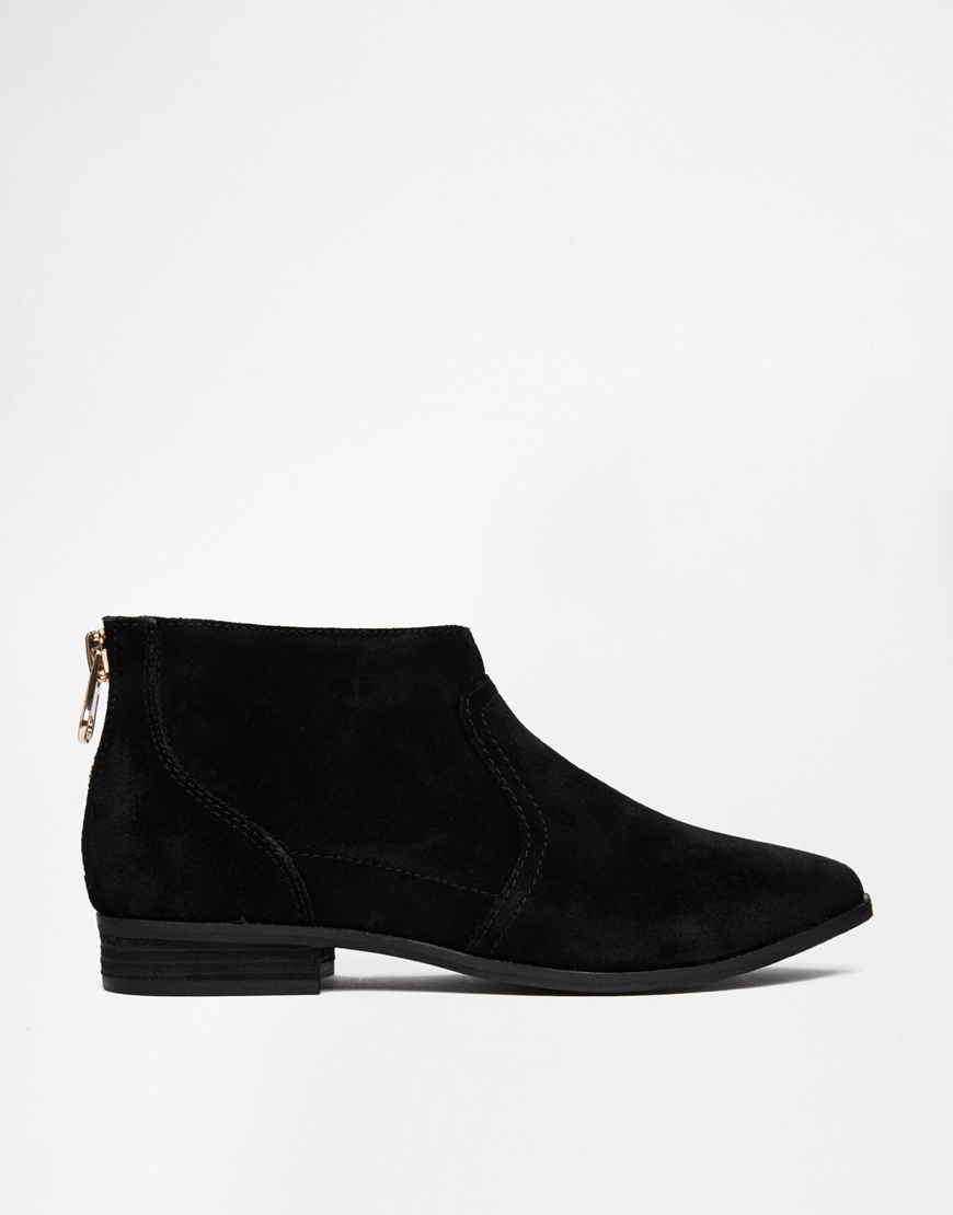 Aldo Rairdon Black Suede Flat Ankle Boots in Black | Lyst