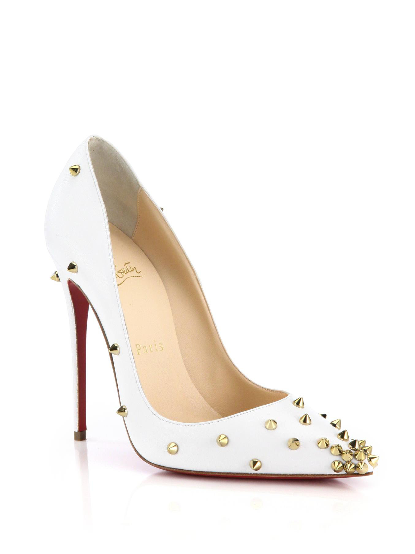 b3ae70836de2 Lyst - Christian Louboutin Degraspike Studded Leather Pumps in White