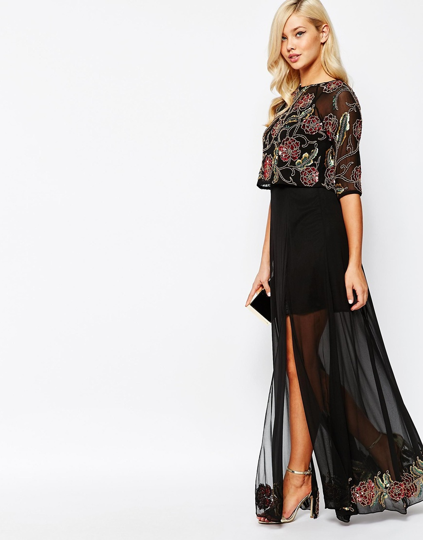 Star is born embellished crepe maxi dress in metallic lyst -  Embellished Mesh Maxi Dress In Natural Lyst Source Be Inspired