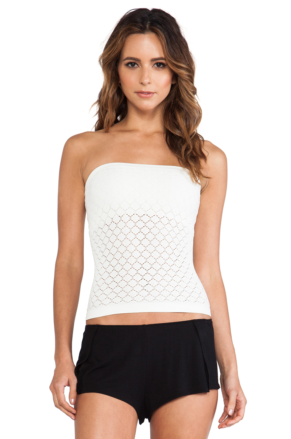 Free people seamless tube top in white ivory lyst for Tube top pictures